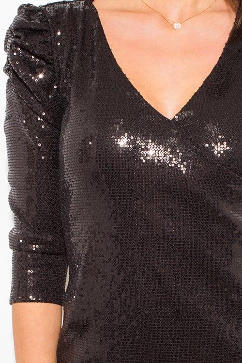 Image of BLACK SEQUINED POWER SHOULDER MINI DRESS