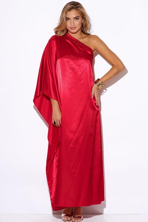 Image of RED SATIN FORMAL KIMONO SLEEVE DRESS