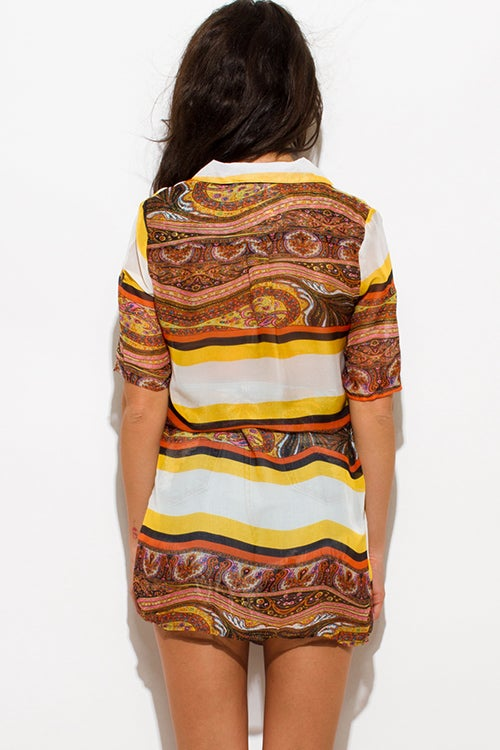 Image of Multicolored Belted Sheer Dress
