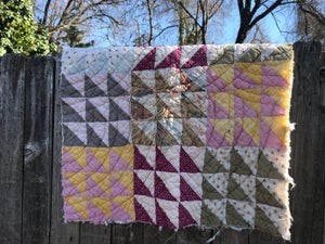 Image of Over-Sized Mini Quilt, Flying Geese Quilt, Vintage Quilt, Natural Colors, Newborn Pillow, Photo Prop
