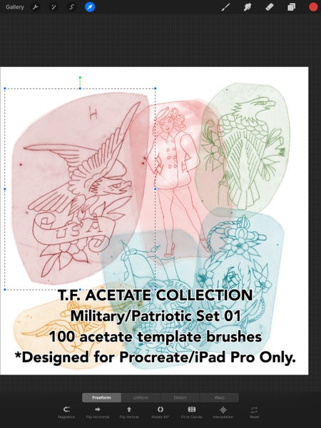Image of T.F. Acetate Collection: Military/Patriotic Set 01 ONLY FOR PROCREATE & IPAD PRO