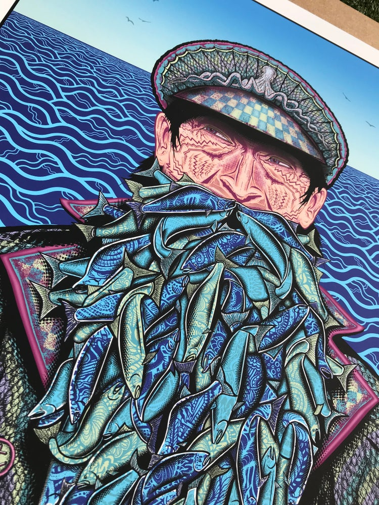 "Image of ""Fish on"" Mini 9x12 Blue Variant of 50"
