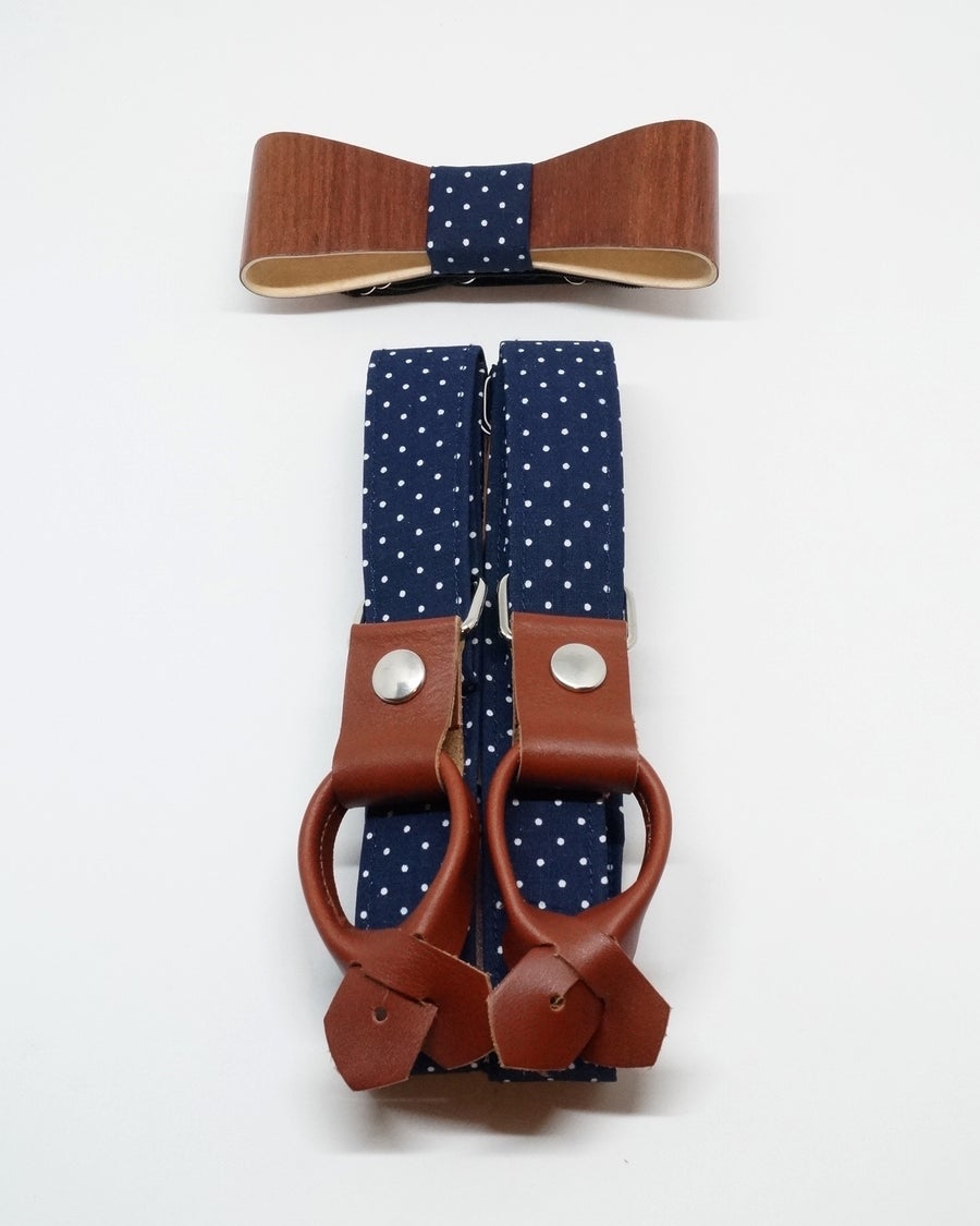 Image of Suspenders & Wooden Bow Tie set - Blue