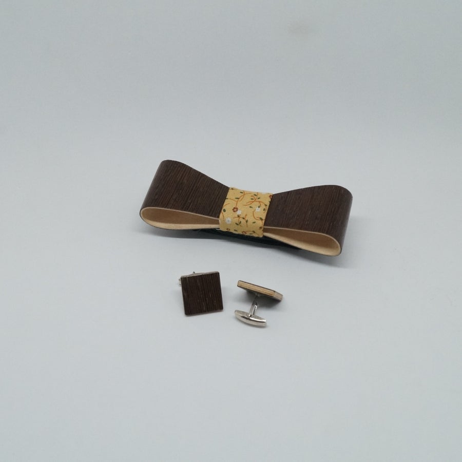 Image of set Wooden Bow Tie - Cufflinks Wengé