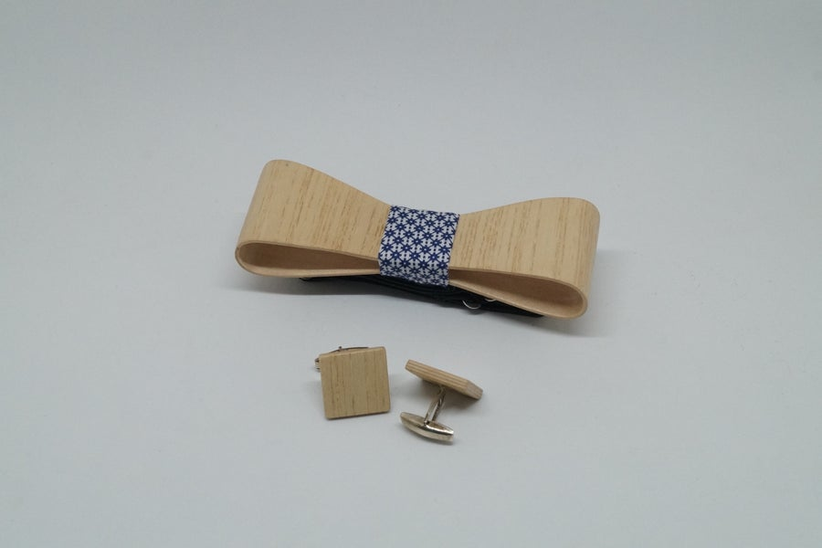Image of set Wooden Bow Tie & Cufflinks - Frêne