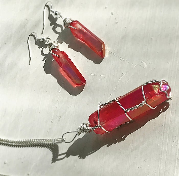 Image of FIRENZA Ruby Aura Quartz matching set