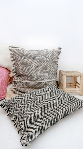 Image of Moroccan Kilim Wool Floor Cushion - Shadoui black