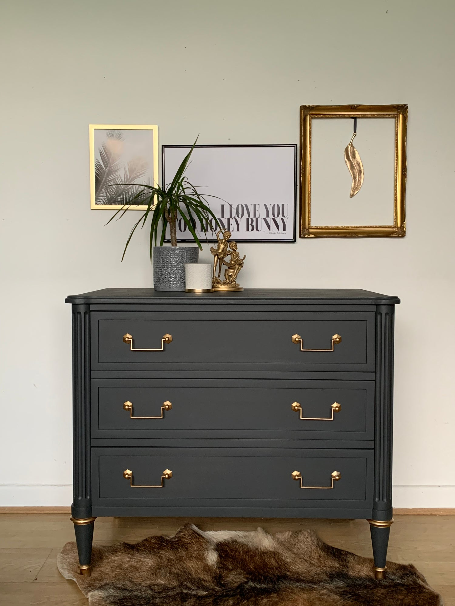 Image of Smaller Dark grey stag chest of drawers