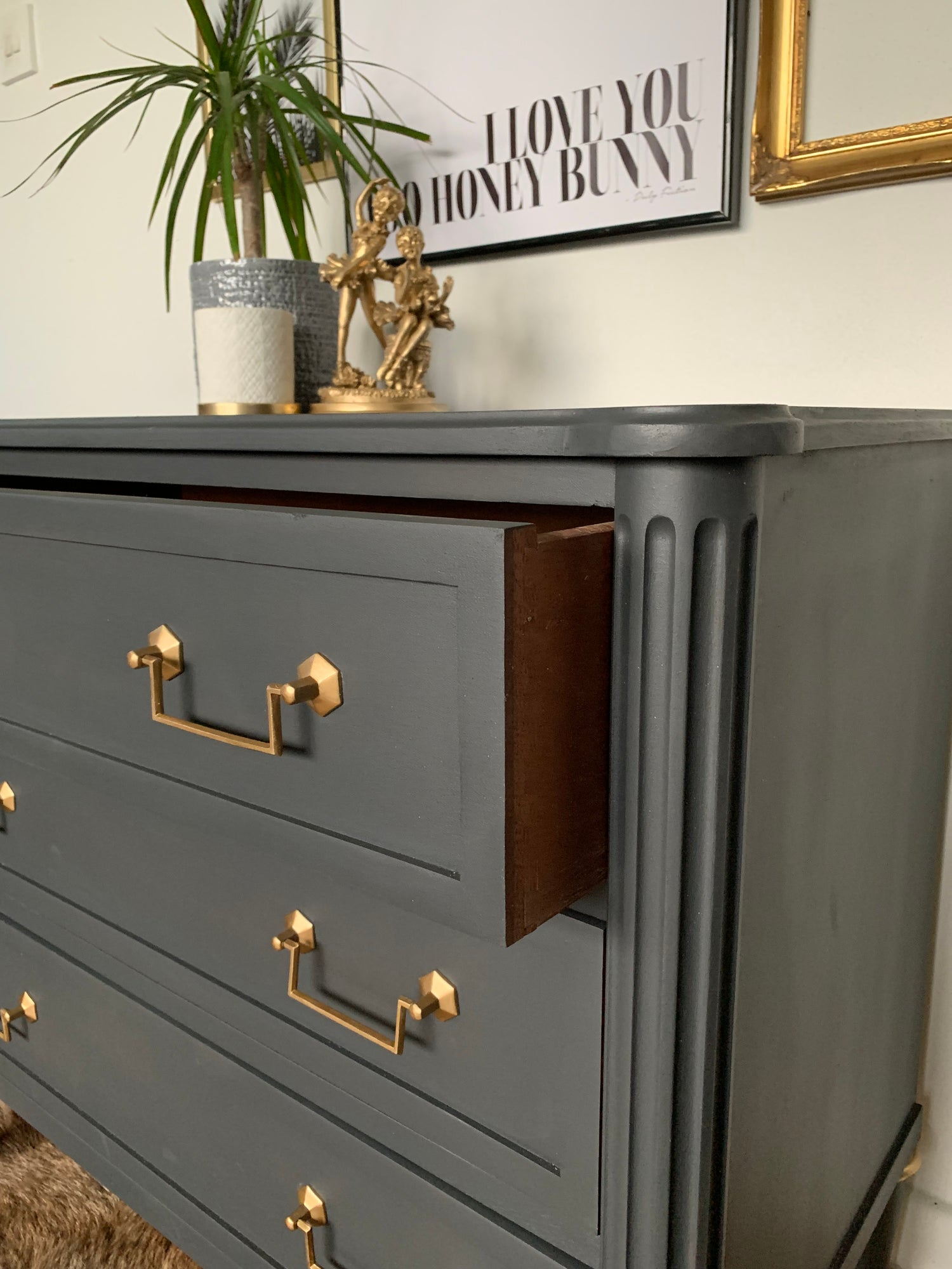 Image of Larger Mahogany Stag chest of drawers dark grey