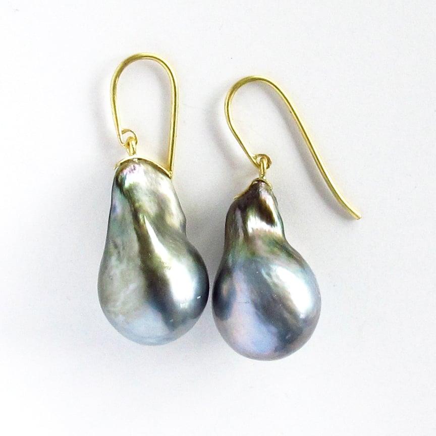Image of Tahitian Baroque Drop 18k Earrings