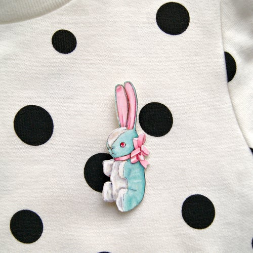 Image of Vintage inspired Stuffed Bunny pin (pink or blue)