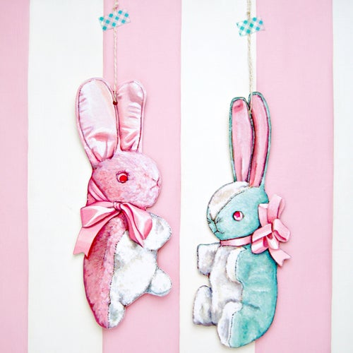Image of Vintage inspired Stuffed Bunny large wall ornament/plaque