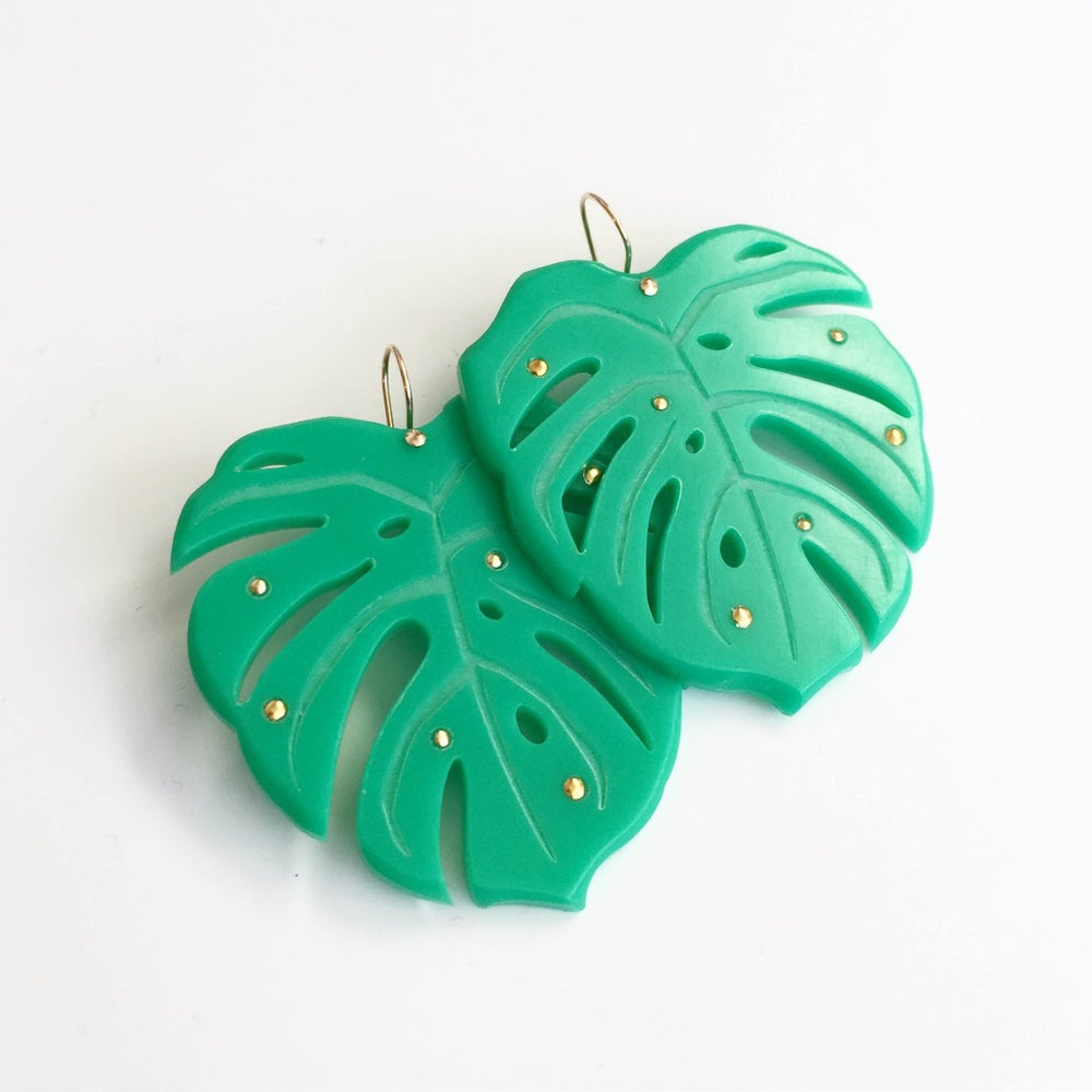 Image of Woll Large Monstera Earrings