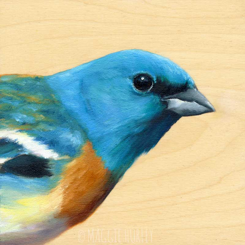 Image of Lazuli Bunting Bird Print on Wood by Maggie Hurley