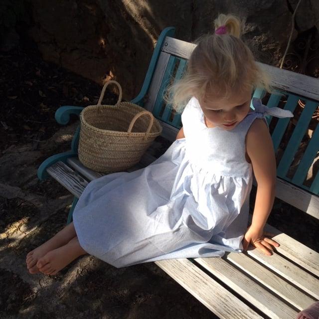 Rabbit Dress- pale blue pattern