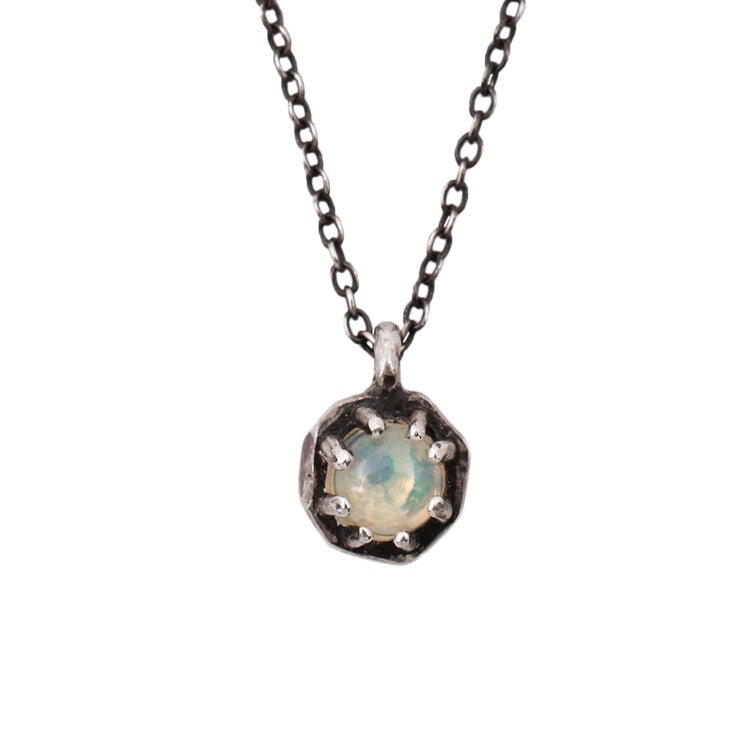 Image of Lauren Wolf Small Silver Octagon Necklace w/Opal