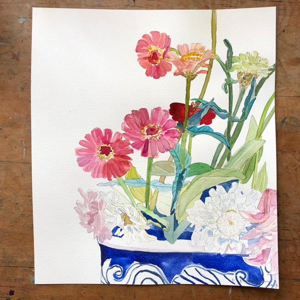 "Image of ""Zinnias and Dahlias"" original watercolour painting"