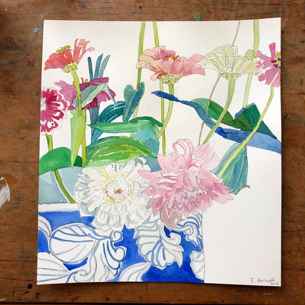 "Image of ""Zinnias and Dahlias II"", original watercolour painting"