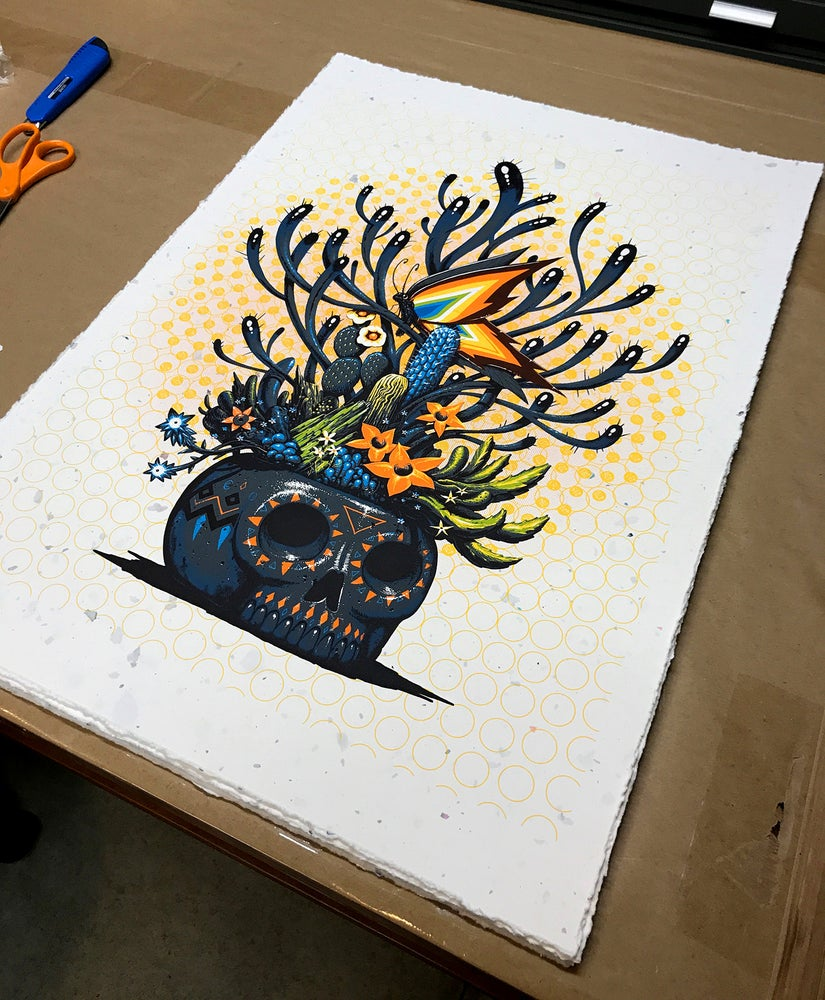Image of Skull of Life Serigraph Print- hand embellished with deckled edge