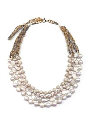 Image of Collana Pellini 4 fili perla e pietra di luna
