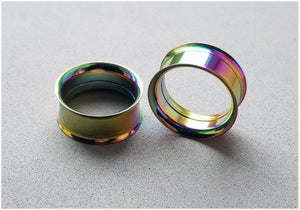 Image of Rainbow PVD Double Flare Screw Eyelet Tunnel