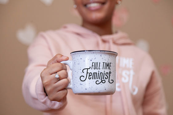 Image of full time feminist camping mug