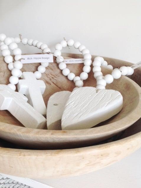 Image of RECLAIMED MINI LOVE BEADS - WHITE HEART