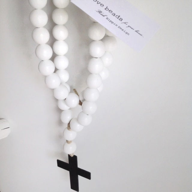 Image of ORIGINAL LOVE BEADS - WHITE CROSS-1