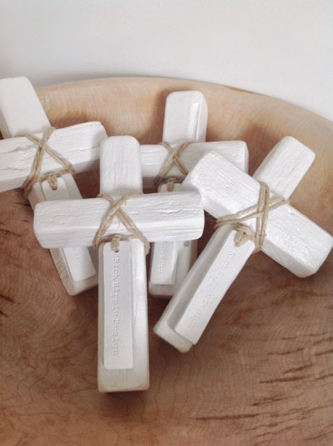 100427 Reclaimed Wooden Decor Cross White