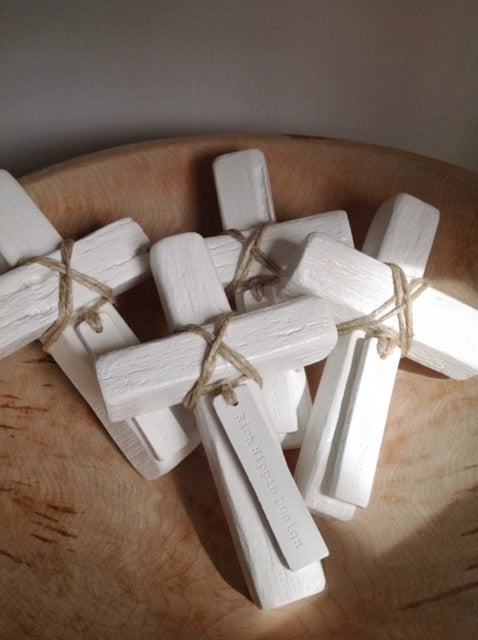 Image of #100427  Reclaimed Wooden Decor Cross - White