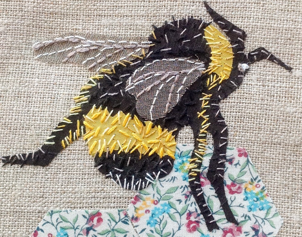 Image of Bee applique hand embroidery kit