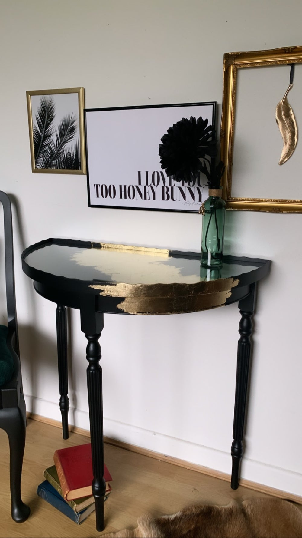 Image of Black & Gold half moon table