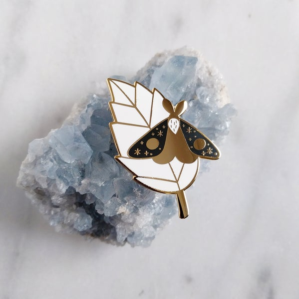 Image of Resting Moth Enamel Pin