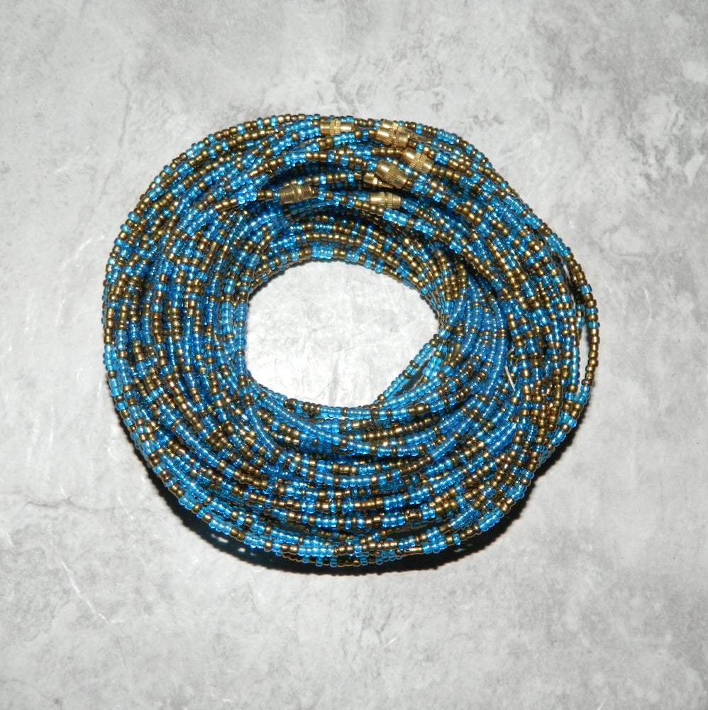 Image of Gold and light blue waist bead