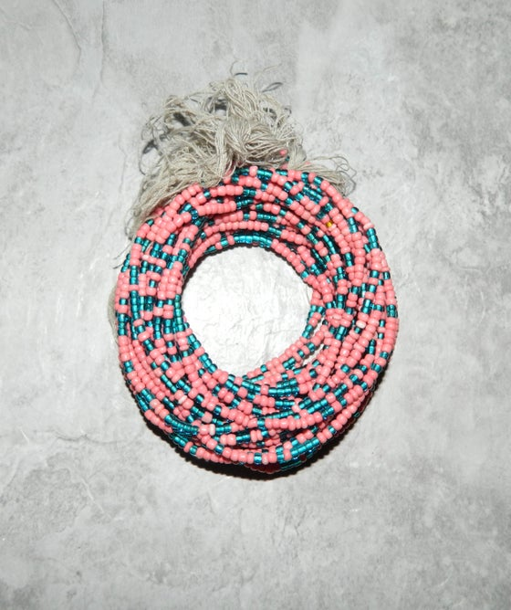 Image of Peach and Teal Tie Waistbead