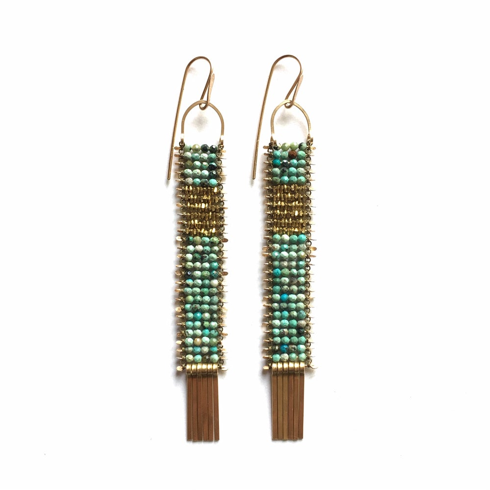 Image of Green Turquoise with a window of Gold Earrings