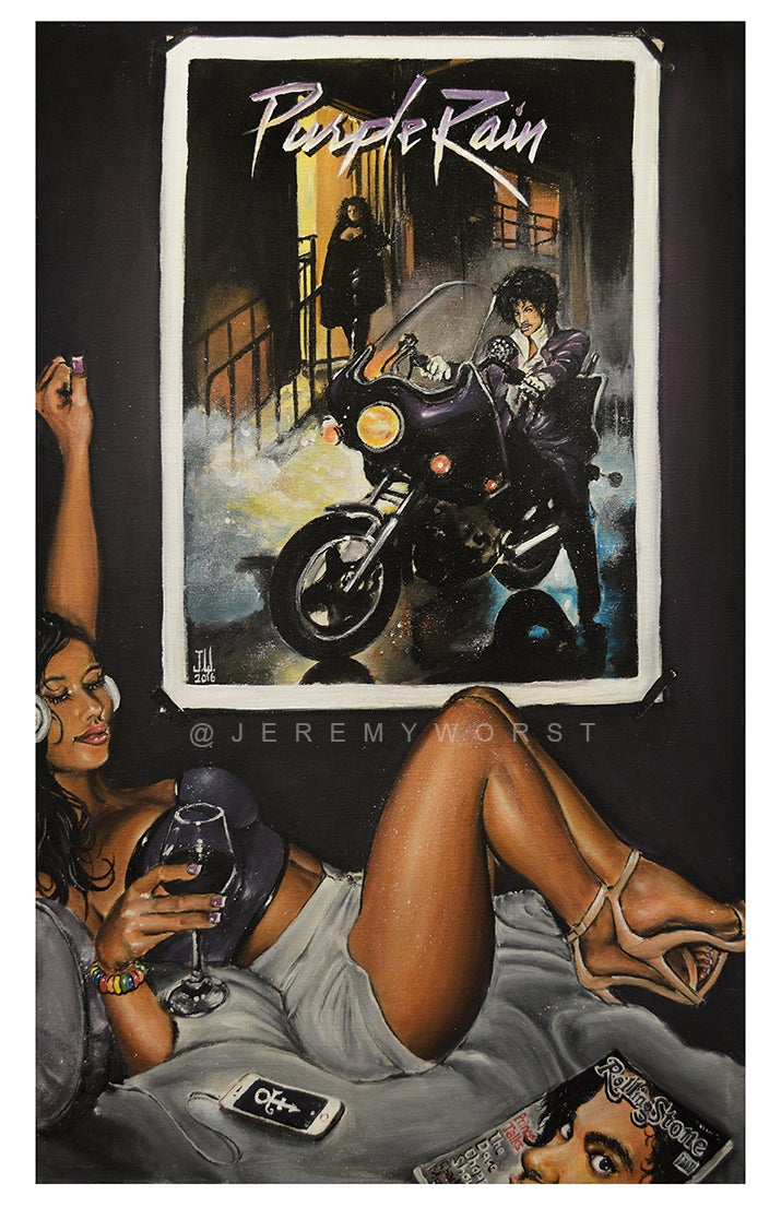 Image of Purple Rain by Jeremy Worst Prince rip tribute nasty girl rollingstone artwork art painting wall diy