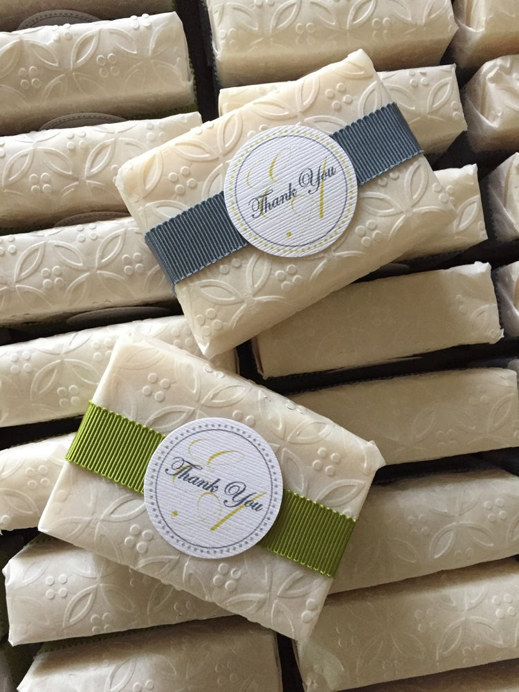 Image of 20 Bridal/Baby Shower Favours - 3 oz bars - custom scent, tag, ribbon, colours