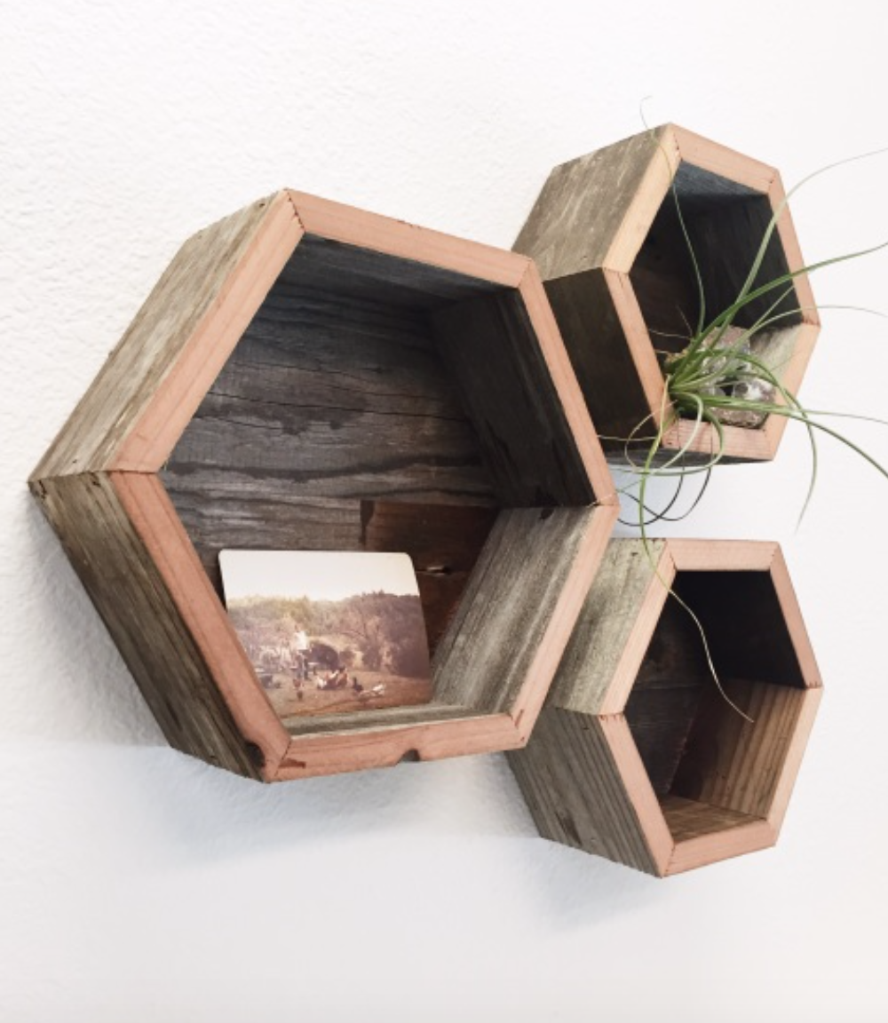 Image of Reclaimed Wood Hexagon Wall Shelf - Medium