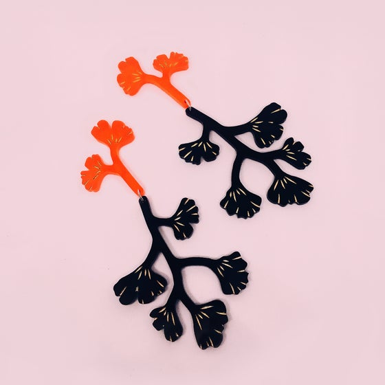 Image of Maiden Hair Fern Dangles (Neon Red + Black)