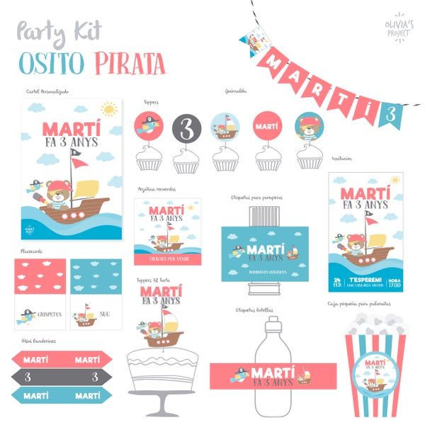 Image of Party Kit Osito Pirata Impreso