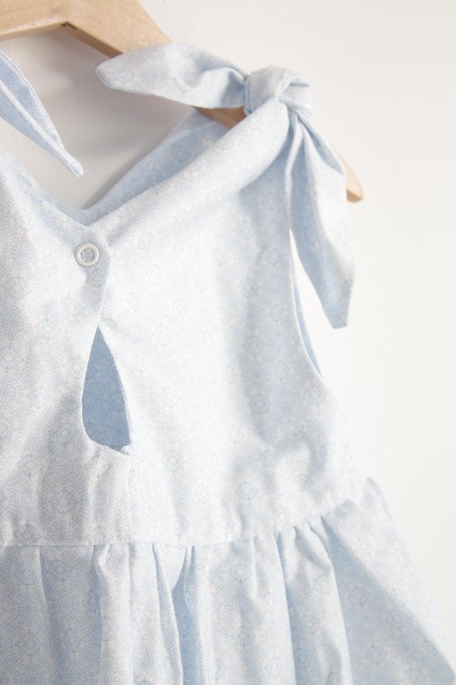 Image of Rabbit Dress- pale blue pattern