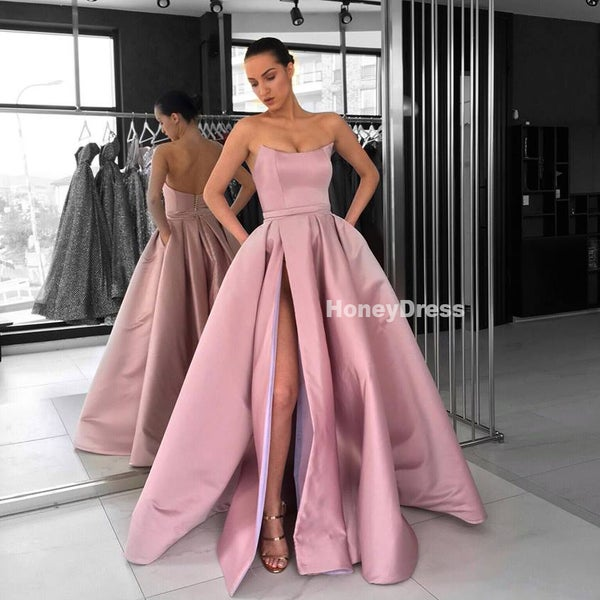 Image of Dusty Rose Satin Strapless A-Line Pockets Long Prom Gown Formal Dress With Side Slit