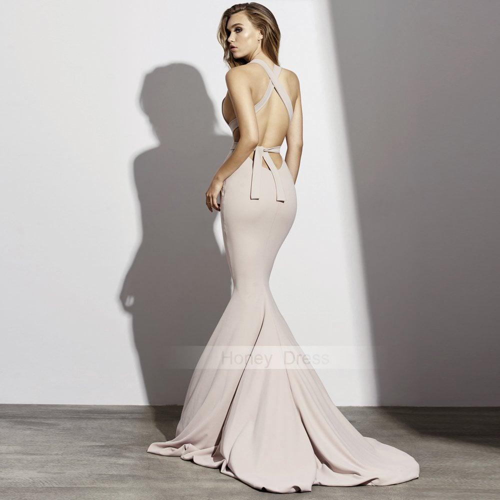 b72d2894b20 Honey Dress — Sexy Dark Champagne V-Neck Mermaid Formal Gown
