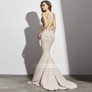Image of Sexy Dark Champagne V-Neck Mermaid Formal Gown, Nude Sweep Train Prom Dress With Open Back