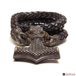 Image of Thor's Hammer : MJOLNIR DARK - Pantera Leather Necklace