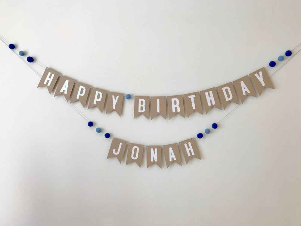 Image of Personalised Happy Birthday Pom Pom Banner