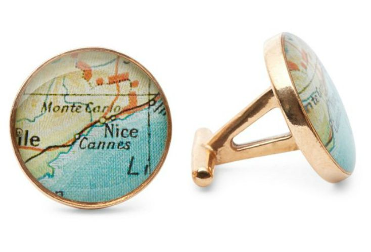 Image of  Golden Bronze Cufflinks  with Vintage Maps