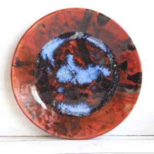 Image of Art Pottery Plate with Abstract Design, Contemporary Dinner Plate, Made in USA