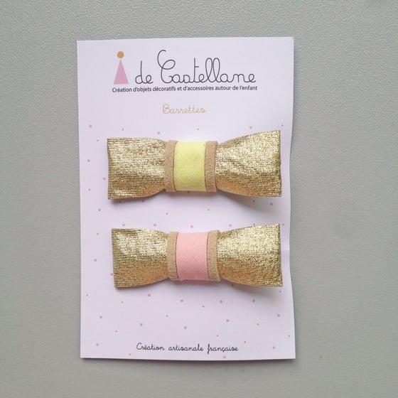 Image of Duo barrettes dorées : jaune et rose
